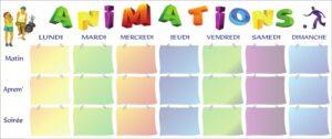 Tableau des animations avec pochettes A5