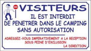 Visiteurs - Interdit de pénétrer dans le camping sans autorisation