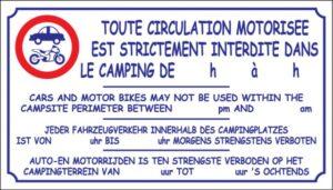 Toute circulation motorisée est strictement interdite dans le camping