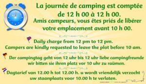 La journée de camping est comptée - Vous êtes priés de libérer votre emplacement avant 10h