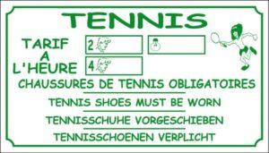 Tennis - Tarifs à l'heure - Chaussures de tennis obligatoires