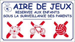 Aire de jeux (grand modèle) avec logo d'interdiction
