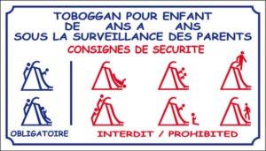 Toboggan pour enfants sous la surveillance des parents - Consigne de sécurité