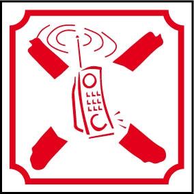 Logo téléphone portable interdit