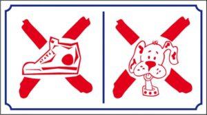Interdit chaussure / chien logo