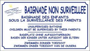 Baignade non surveillée + logo étang