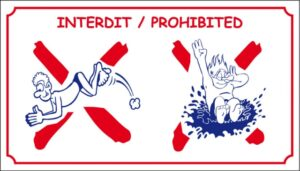 Interdit plonger + bombe logo