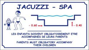 Profondeur Jacuzzi et Spa - Les enfants doivent obligatoirement être accompagnés de leurs parents