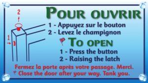 Portillon piscine - Pour ouvrir