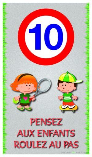 Logo 10 km/h - Pensez aux enfants - Roulez au pas