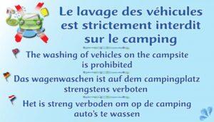 Le lavage des véhicules est strictement interdit sur le camping