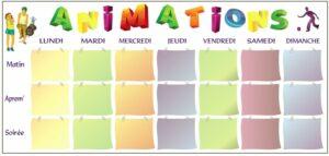 Tableau des animations avec pochettes A4