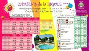 Exemple de Panneau tarif d'entrée Camping La Rigole