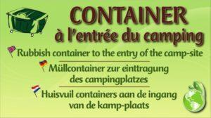 Container à l'entrée du camping