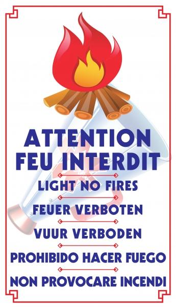 "Attention feu interdit ""buche"" (6 langues)"