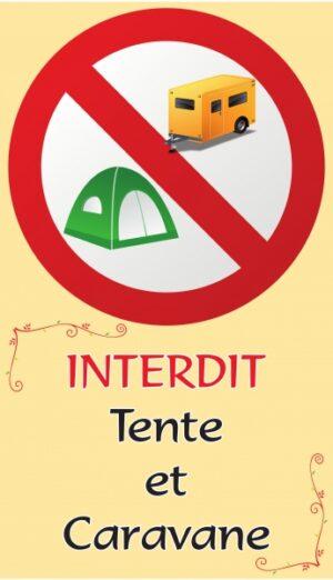 Interdit tente et caravane