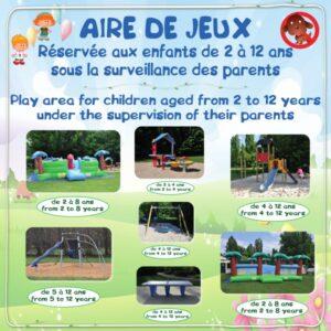 Aire de jeux - Réservée aux enfants de 2 à 12 ans sous la surveillance des parents