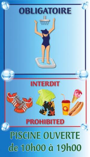 Règlement piscine condensé + horaires