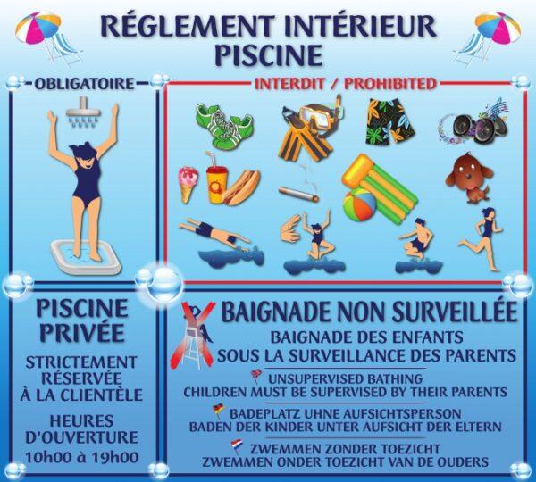 Règlement piscine combiné horaires journée