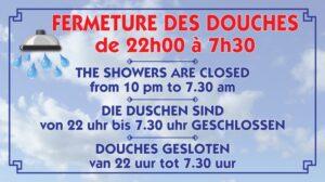 Fermeture des douches + horaires