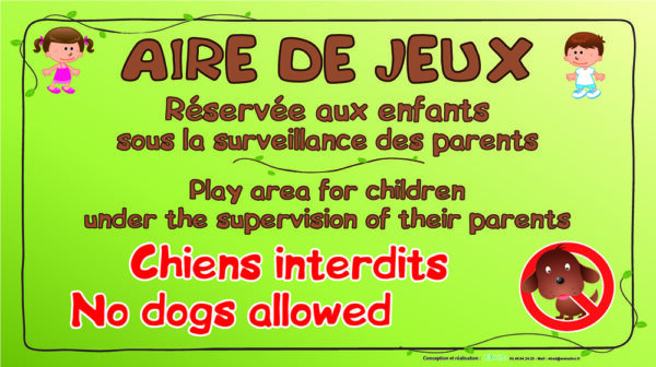 EBCD Signalétique Camping - JN041A Aire de jeux chiens interdits