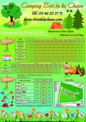 EBCD Signalétique Camping - Tarif plan T002A Bois de la Chasse