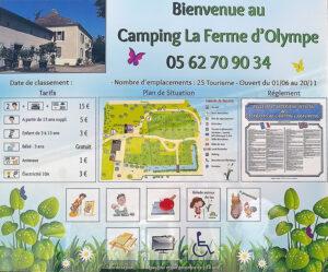 EBCD Signalétique Camping - Tarif plan T002A Ferme d'olympe