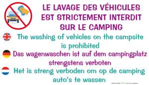 EBCD Signalétique Camping - CE018 Lavage véhicule interdit