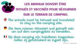 EBCD Signalétique Camping - EE026 Animaux tatoués et vaccinés