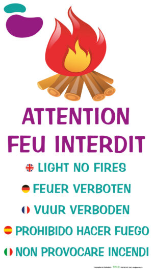 EBCD Signalétique Camping - IE010 Attention feu interdit