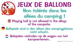 EBCD Signalétique Camping - JE002 Jeux de ballons interdits