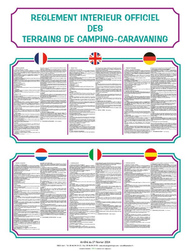 EBCD Signalétique Camping - RE001 Réglement intérieur 2020 Grand Modéle