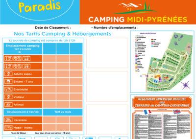 EBCD Signalétique Camping - T002A Camping Paradis MIDI PYRENEES tarif 2020 1450 x 1500