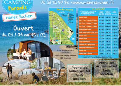 EBCD Signalétique Camping - T002A Camping Paradis Menez Bichen 2020 tarif 1520x1300 dibond