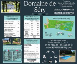 EBCD Signalétique Camping - T002A DOMAINE DE SERY 2020 Tarif 1500 x 1250