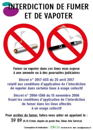EBCD Signalétique Camping - LE007G Interdit fumer vapoter Loi Evin
