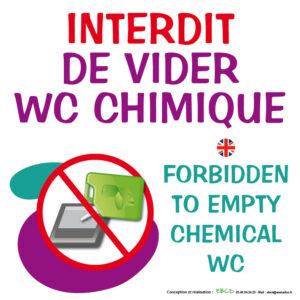 EBCD Signalétique Camping - SE010B Interdit vider wc chimique Fr-En 30x30