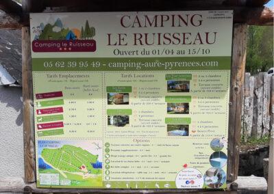 EBCD Signalétique Camping - Panneau tarif Camping Ruisseau